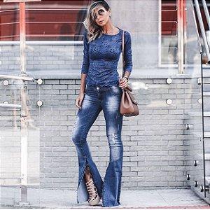 Calça Flare Jeans dois Cós
