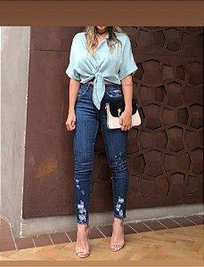 Calça Jeans Skinny Cropped