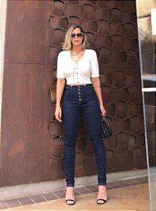 Calça Jeans Skinny com Botões
