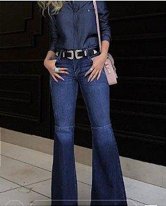 Calça Jeans Flare com Recorte