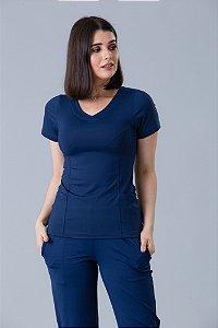 Conjunto Scrub Blusa e Calça Confort Dry Fit Feminino Azul Marinho