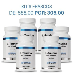 01. KIT 6 L Taurina 75mg sublingual - Douglas Labs (6 frascos de 90 tabletes)