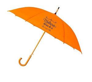 : Guarda-Chuva laranja 1,00 mt de diâmetro, tecido Pongee, haste, ponteiras e cabo curvo de madeira com 8 varetas de fibra de carbono e abertura automática.