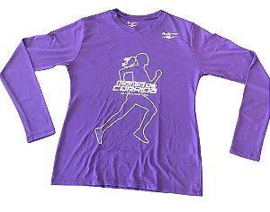 Camiseta Mania de Corrida Roxa Manga Longa em Poliamida