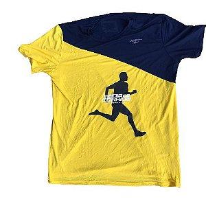 Camiseta Mania de Corrida Amarelo e Azul Marinho - Special Edition
