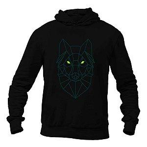 Blusão de Moletom com Capuz Wolf Line Preto e Verde - Unissex