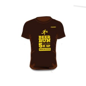 Camiseta Beer Run Marrom em Poliamida