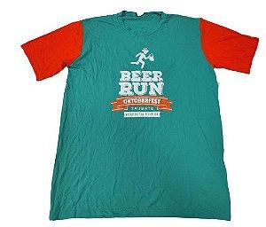 Camiseta Beer Run Verde com Mangas Laranjas em Poliamida
