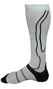 Meias de Compressão Branca com Preto - Tamanho G (41 A 44)