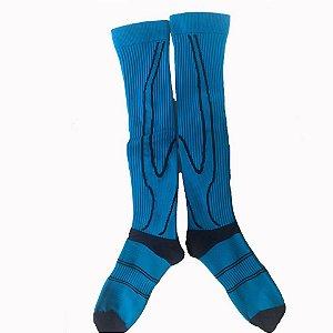 Meia de Compressão Azul com Preto - Tamanho G (41 A 44)