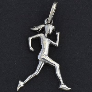 Pingente Corredora Cabelo Solto em prata 950