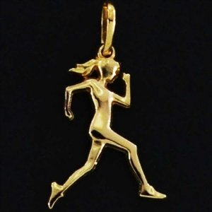 Pingente Corredora Cabelo Solto folheado em ouro 18k