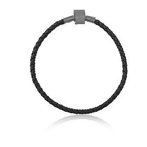 Pulseira Couro Sintético Preto com Fecho em Aço Inox para Berloques (18 cm)