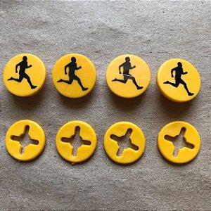 Button Amarelo Corredor Preto - Prendedor Número de Peito