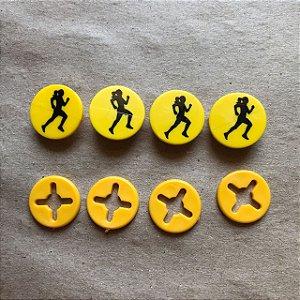 Button Amarelo Corredora Preto - Prendedor Número de Peito