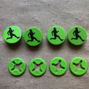Button Verde Corredor Preto - Prendedor Número de Peito