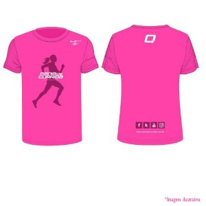 Camiseta Mania de Corrida Rosa - Tecido Tecnológico UV Protection