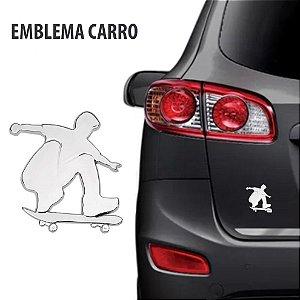 Emblema Skatista Cromado para Carro