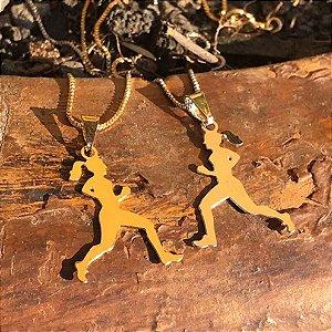 Conjunto Pingente Corredora + Corrente Veneziana 45 cm - Folheado Ouro 18k ou Ouro Branco