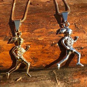 Conjunto Pingente Corredora 3 Zircônias + Corrente Veneziana 45 cm - Folheados Ouro 18k ou Ouro Branco