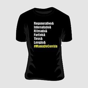 Camiseta Mania de Corrida Treinos Preta