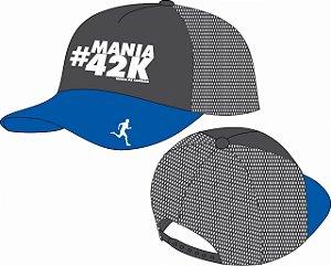 Boné Mania de Corrida Edição Especial #MANIA42k Cinza, azul e branco