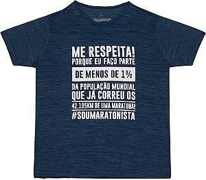 "Camiseta ""ME RESPEITA #SOUMARATONISTA"" Mescla Azul Petróleo"