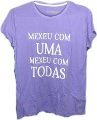 Camiseta Mexeu com UMA Mexeu com TODAS na cor Roxa em Algodão