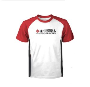 Camiseta Movie For Cancer  Branca com Detalhes Pretos e Vermelhos