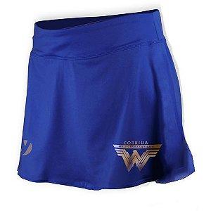 Shorts Saia Corrida Mulher Maravilha Azul - Produto Oficial Licenciado