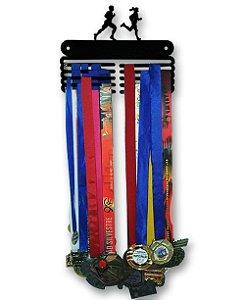 Porta Medalhas Casal de Corredores em Aço - Pintura Preta