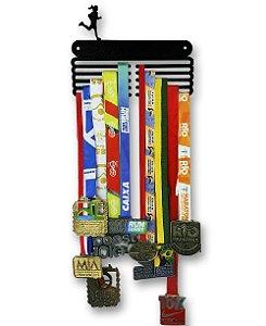 Porta Medalhas Corredora em Aço - Pintura Preta