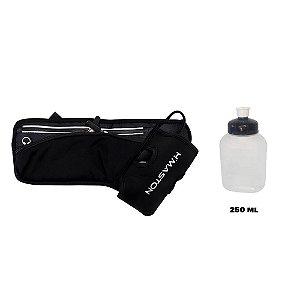 Cinto Pochete de Hidratação Impermeável Dois Compartimentos com Zíper e um Squeeze de 250 ml incluso