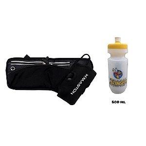 Cinto Pochete de Hidratação Impermeável Dois Compartimentos com Zíper e um Squeeze de 500 ml Stinger incluso
