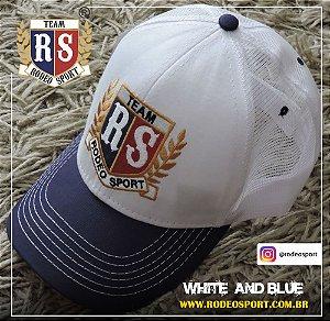 Boné Rodeo Sport White and Blue Tela