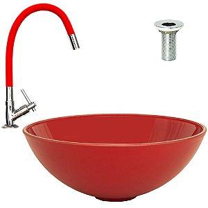 Cuba Plástica de Sobrepor Vermelha + Torneira Vermelha Silicone + Válvula Metal