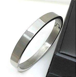 Pulseira Bracelete Prata Lisa Polida 8mm Aço Inoxidável