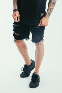 SHORT JEANS RASGADO BLACK