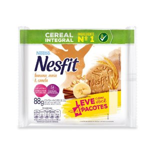 Biscoito Nesfit Nestle Integral Banana, Aveia E Canela Contendo 4 Pacotes De 22g Cada