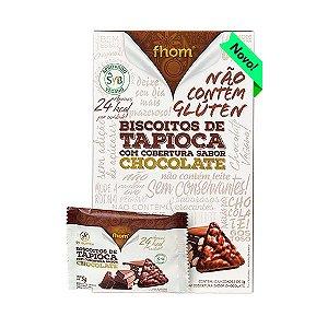 Biscoitos De Tapioca Cobertos Com Chocolate Fhom Contendo 12 Unidades De 5g Cada