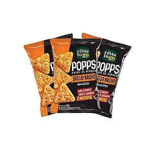 Popps Chips De Pipoca Queijo Nacho Sem Glúten Roots To Go Contendo 3 Unidades De 35g Cada
