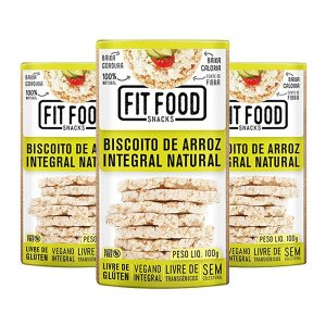Biscoito de Arroz Integral Natural Fitfood Contendo 3 Pacotes 100g cada