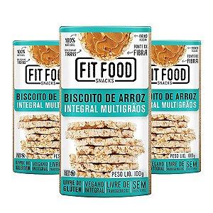 Biscoito de Arroz Integral Multigrãos FitFood Contendo 3 Pacotes de 100g cada