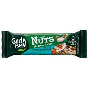 Barra De Nuts Com Sementes E Coco Zero Açúcar Cuida Bem 25g