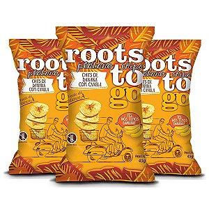 Chips De Banana Com Canela Roots Do Go Contendo 3 Pacotes De 45g Cada