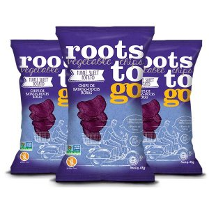 SNACK PURPLE SWEET POTATO - CHIPS DE BATATAS-DOCES ROXAS ROOTS TO GO CONTENDO 3 PACOTES DE 45g CADA