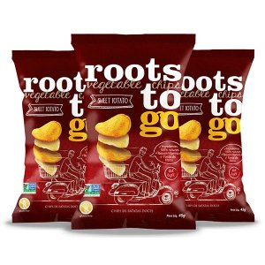 Snack Sweet Potato - Chips De Batatas-doces Roots To Go Contendo 3 Pacotes De 45g Cada