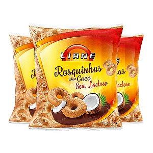 Rosquinhas De Coco Sem Lactose Liane Contendo 3 Pacotes 400g Cada