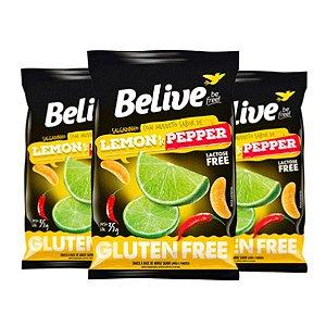 Salgadinho Belive Lemon & Pepper Sem Glúten Contendo 3 Pacotes De 35g