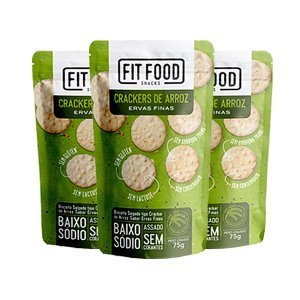 Crackers De Arroz Ervas Finas Fitfood Contendo 3 Pacotes De 75g Cada